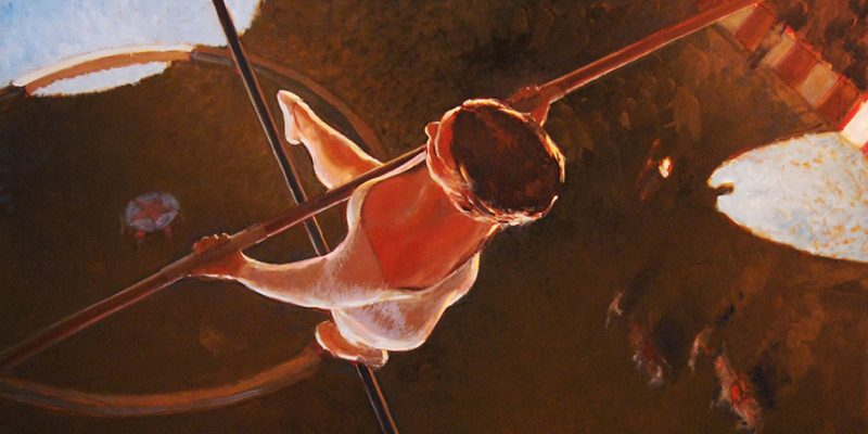 Robert Beck (b. 1950), Tightrope, 2009. Oil on panel. 44 x 44 inches. Collection of Kevin and SherriDaugherty.